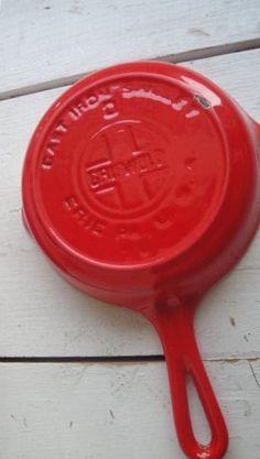 Griswold Cast Iron Skillet Red Enamel Vintage #0 #4 $58.00 USD