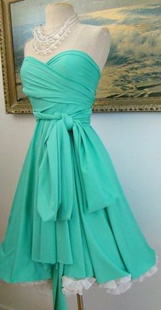 Story time: I once saw a dress like this one in a vintage shop in Cape Hatteras. It was a genuine 1940's prom dress, in this lovely light blue, with a cut and silhouette not unlike this one. I definitely should have bought it; as is, I'll have to figure out how to sew one.