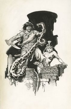CONAN THE CIMMERIAN FULL PAGE ILLUSTRATION ( 2002, MARK SCHULTZ ) Comic Art