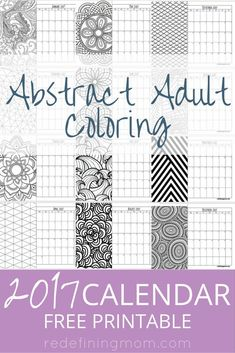 Today I'm sharing a FREE printable abstract adult coloring 2017 calendar! Adult coloring pages are super popular right now and…