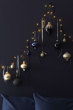 Update your Christmas decorations for navy and gold with our midnight Christmas . Update your Christmas decorations for navy and gold with our midnight Christmas baubles and wall decorations this year. Gold Christmas Decorations, Modern Christmas Decor, Christmas Trends, Dark Christmas, Christmas Baubles, Christmas Colors, Christmas Inspiration, Christmas Home, Gold Ornaments