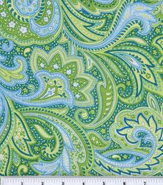 Keepsake Calico Fabric-Paisley Green Joann's for the bedroom