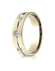 18k Yellow Gold 6mm Comfort-Fit Etched Burnish Set 8-Stone Diamond Eternity Ring (.32ct)     This men's ring is perfect for those guys who like a classic style but want a little bit more at the same time. Burnish set diamonds & an etched design around the middle enhance the overall look of this piece. This style can also be finished in White or Rose Gold also!