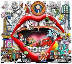 "Looney Dentistry, by artist Charles Fazzino. (17"" x 15.5"") #3dpopart #dentist #dentistart #workplaceart"