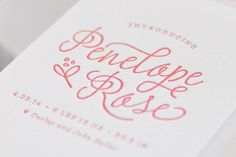 Floral Letterpress Baby Announcements