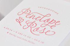 Floral Letterpress Baby Announcements