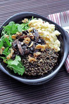 Couscous, Rocket, Mushrooms and Lentils salad