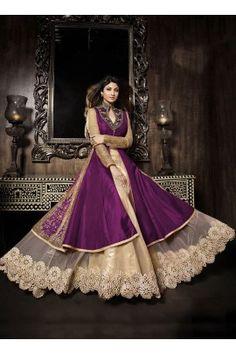 Net and silk fabric designer party wear purple coloured superb lehanga suit
