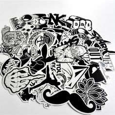 New 60 PCS Black and White Sticker Skateboard Graffiti Decal Toy Laptop Bicycle Motorcyle Car Stying Doodle DIY Cool Stickers