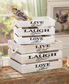 """The country-inspired look of this Set of 2 Storage Crates with Sentiment looks great in any room. Each features the same thoughtful phrase """"Live Well. Classic Furniture, Unique Furniture, Furniture Storage, Furniture Nyc, Cheap Furniture, Rustic Furniture, Luxury Furniture, Furniture Ideas, Crate Storage"""