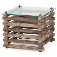 Laura Rustic Lodge Glass Top Log Side Table | Shop Home Decor | Art & Home  ||  The Laura Rustic Lodge Glass Top Log Side Table from Kathy Kuo Home will become a splendid addition to your stylish home. Part of Art & Home's curated End Tables collection. Log End Tables, Log Side Table, Log Coffee Table, Glass Top Coffee Table, Pallet Furniture Designs, Log Furniture, Country Furniture, Brown Furniture, Furniture Dolly