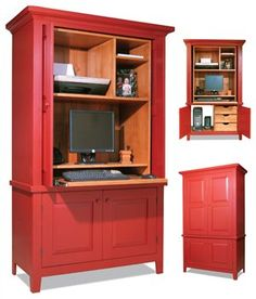 "Computer Armoire Build an updated American classic from bargain-priced plywood and poplar. By Jeff Corns My wife and I enjoy antique country furniture. It's usually a bargain, but we've been unable to find a piece that would hold all of our computer gear. I'm a professional cabinetmaker, so naturally my wife said, ""Honey, can't you make one?"" Back in the day, practical-minded country cabinetmakers often used a variety of plain …"