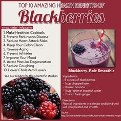 The blackberry is densely packed with fiber, anthocyanins and vitamin C. Blackberries have numerous science-supported health benefits. We've explored ten of the best - click the link to learn more! Health Benefits, Health Tips, Health And Wellness, Juice Smoothie, Smoothie Recipes, Smoothies, Juice Recipes, Natural Cures, Natural Health