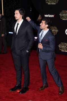Oscar Isaac and Adam Driver at the premiere of Star Wars: The Force Awakens