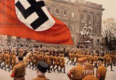 Adolf Hitler Saluting Marching Nazi Soldiers, Braunschweig, Germany, 1931