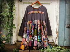 XL 1X Upcycled Bohemian Patchwork Tunic Top// Plus by emmevielle
