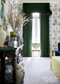 Melanie Turner - Atlanta Homes & LifestylesEmerald green curtains are not just for the holidays; they are a gorgeous choice all year long. I have emerald green silk curtains in my own dining room. Green Curtains, Velvet Curtains, Drapes Curtains, Valances, Drapery, Blue And White Wallpaper, Enchanted Home, Chinoiserie Chic, Chinoiserie Wallpaper