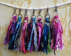 Tassel key chain / purse charm / blues green/ purple pink/ pink white ribbon tassels pick color and charm Wood Jewelry Display, Jewellery Display, Shabby Fabrics, Vintage Fabrics, Color Rosa, Color Azul, Diy Tassel, Tassels, Purple Ribbon
