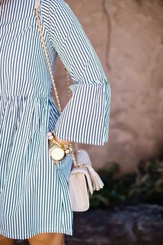 Love the stripes against the blush crossbody bag! PINTEREST: @eva_darling