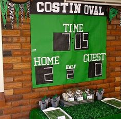 cool backdrop for treat table at soccer party - bella Soccer Birthday Parties, Sports Birthday, Soccer Party, Sports Party, 2nd Birthday, Soccer Banquet, Football Parties, Theme Sport, Cool Backdrops