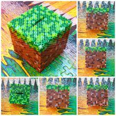 Minecraft grass block perler beads by HigurashiKarly on DeviantArt