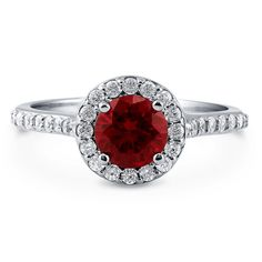 Berricle 925 Silver Simulated Ruby Cz Halo Promise Engagement Ring 1.46 Carat
