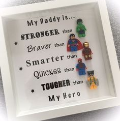 Handmade Dad Daddy Superhero frame with Superhero figures Any colour background available Daddy can also be changed to Dad Grandad Uncle Brother etc