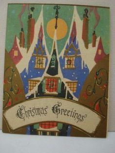 VINTAGE ART DECO CHRISTMAS CARD -1920's