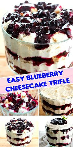 Stunning and simple to make, this Easy Blueberry Cheesecake Trifle is an edible centerpiece to add to your trifle recipe collection. Trifle Bowl Recipes, Trifle Desserts, Trifle Recipe, Gourmet Desserts, Great Desserts, Holiday Desserts, Delicious Desserts, Dessert Recipes, Yummy Food