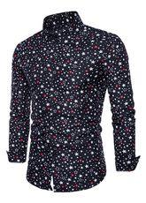 Camisas casuales de algodón mezclado de cuello vuelto con manga larga con estampado cómodasOtoño - Milanoo.com Camisa Rock, Chemise Fashion, Casual Wear For Men, Fashion Looks, Style Fashion, Mens Suits, Printed Shirts, Shirt Dress, Men Dress