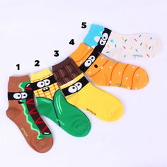 choice !! Bestseller SOCKS MADE IN KOREA women boy girl funny socks au Socks World, Monster Food, Food Cartoon, Funny Socks, Kids Socks, Animal Fashion, Girl Humor, Best Sellers, Funny Animals