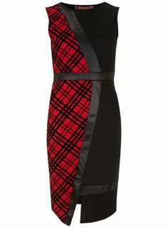 Red check asymmetric dress