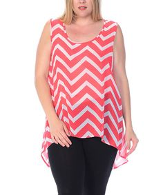 This Coral & White Sheer Zigzag Hi-Low Tank - Plus is perfect! #zulilyfinds
