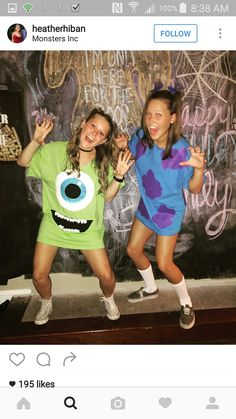 disney halloween costumes Easy Last Minute Halloween Costume Ideas For Girls - Monsters Inc Mike and Sully Monsters Inc Halloween Costumes, Monster Inc Costumes, Cute Group Halloween Costumes, Halloween Shirt, Halloween Outfits, Halloween Halloween, Sully Halloween Costume, Original Halloween Costumes, Easy Disney Costumes