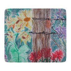 Tree & Wildflowers Glass Cutting Board