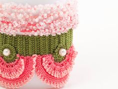 Freeform Crochet Cuff - Flowers - Pink and Green - Pink Pearl - Colorful Flowers - Beaded Statement Cuff - Boho Chic Style - Ottoman Tile