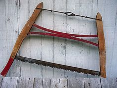 ANTIQUE BUCK SAW PRIMITIVE BARN TOOL VTG FARM RUSTIC OLD RED PAINT BEECH WOOD
