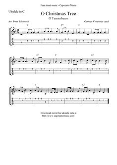 "✓""O Christmas Tree"" (""O Tannenbaum"") Ukulele Sheet Music - Free Printable"