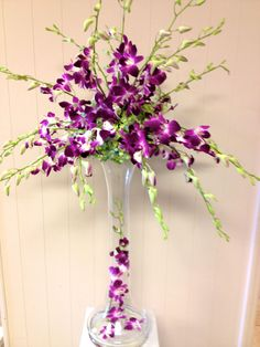 All Orchid Wedding Centerpiece - Purple Dendrobium Orchids - By Jacqueline's Florist