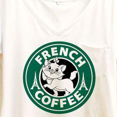 Marie Cat French Coffee Shirt   Aristocats Starbucks   Disney
