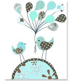 Nursery Art Print Brown and Aqua Nursery by SweetPeaNurseryArt, $15.00
