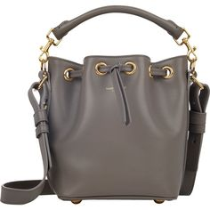 Saint Laurent Small Bucket Bag (2 038 365 LBP) ❤ liked on Polyvore featuring bags, handbags, shoulder bags, bolsas, grey, gray handbags, bucket bag, yves saint laurent handbags and bucket bag purse
