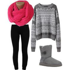 Gray patterned sweater, black leggings and boots, and a pop of color