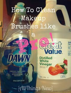 Mix together 2/3 cup of white vinegar with 1/2 teaspoon of Dawn dish soap in a glass measuring cup. Fill the rest of the measuring cup with hot water. Place your makeup brushes in the measuring cup and allow them to soak for 5 minutes. Remove the brushes from the solution and rinse with cold water until the water runs clear.