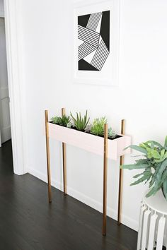 Skinny Planter Stand DIY | A Beautiful Mess | Bloglovin'