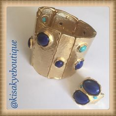Beautiful Gold tone set Stretch Gold tone Bracelet with blue stones and turquoise accents. Ring stretch also. Like new, wore once!!! Jewelry Bracelets