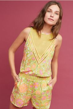 f4c7f1f8550 Details about NWT Anthropologie Tracy Reese Orvieto Romper Yellow Motif PXS    XS Retail  138