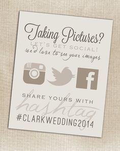 Instagram - Wedding Instagram Facebook Twitter Beige Hashtag Print - Printable - Digital JPG File 8x10