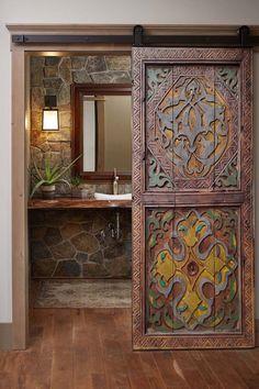 Wood Wall Decor, Wood Wall Art, Double Sliding Doors, Double Front Doors, Deco Nature, Living Room Mirrors, Entrance Doors, Barn Doors, Headboards For Beds