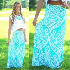 Untoile Forever Maxi Skirt in Mint
